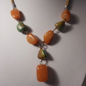 """Orange and Green Stone Choker Necklace 16"""" - 18"""" L"""